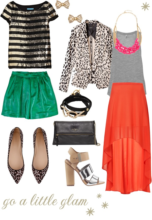 two girly glam outfits with items from TopShop, Alice + Olivia, JCrew, Kate Spade