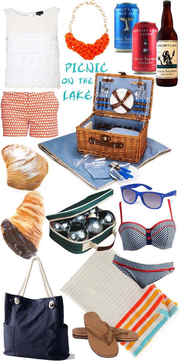 Preppy summer picnic by the lake