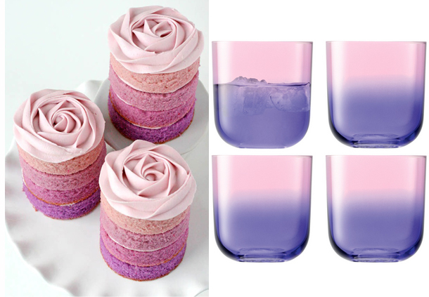 Purple ombre rose cakes and tumbler glasses