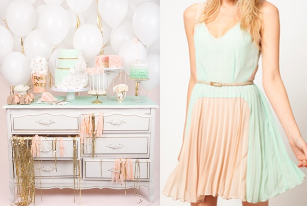 Peach and mint party with a Jenna Rae cake table and an Oasis ASOS dress