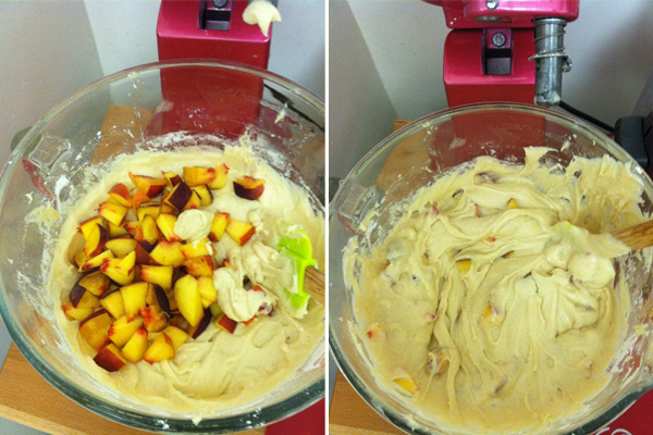 Mixing Peaches and Cream Cupcakes