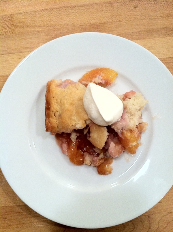 vacation peach cobbler dessert for a big party