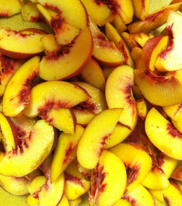 fresh ripe local Wisconsin peaches for peach cobbler on vacation on Lake Michigan