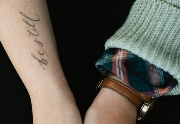 neither snow calligraphy tattoo - be still