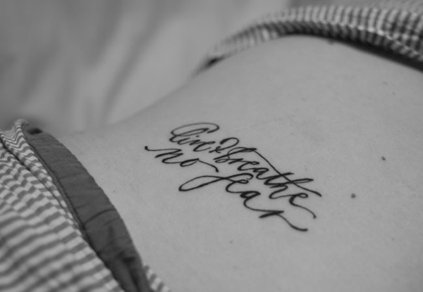 Cupcakes for Breakfast: neither snow calligraphy tattoo - live and breathe no fear