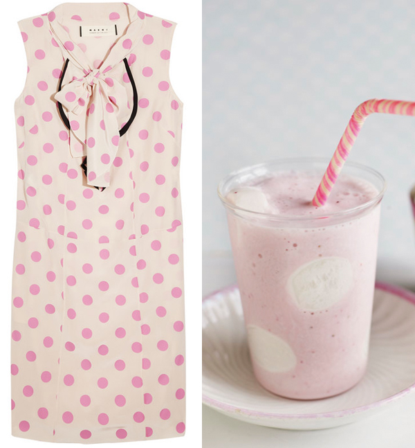 Side by side pink polka dot Marni dress and strawberry marshmallow shake
