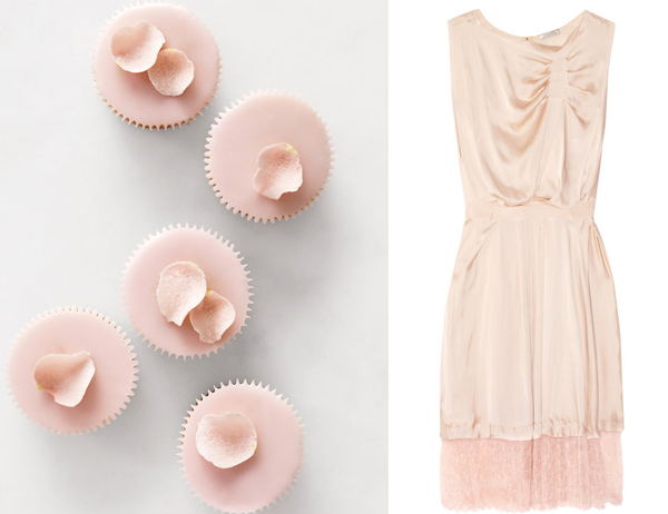 side by side - pink petals with Martha Stewart cupcakes and Nini Ricci