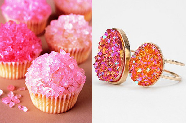  side by side - rock candy cupcakes and bracelet
