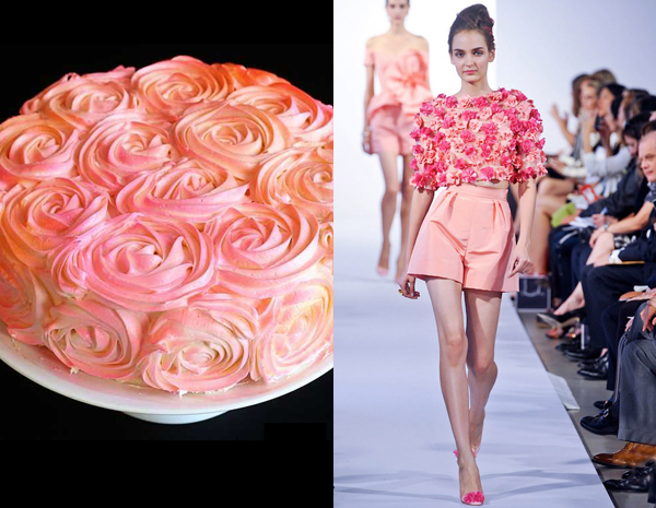 side by side - pink and peach roses with i am baker and oscar de la renta