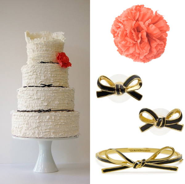 Maggie Austin Cake, three Kate Spade jewelry bows, 1 red Ban.do flower