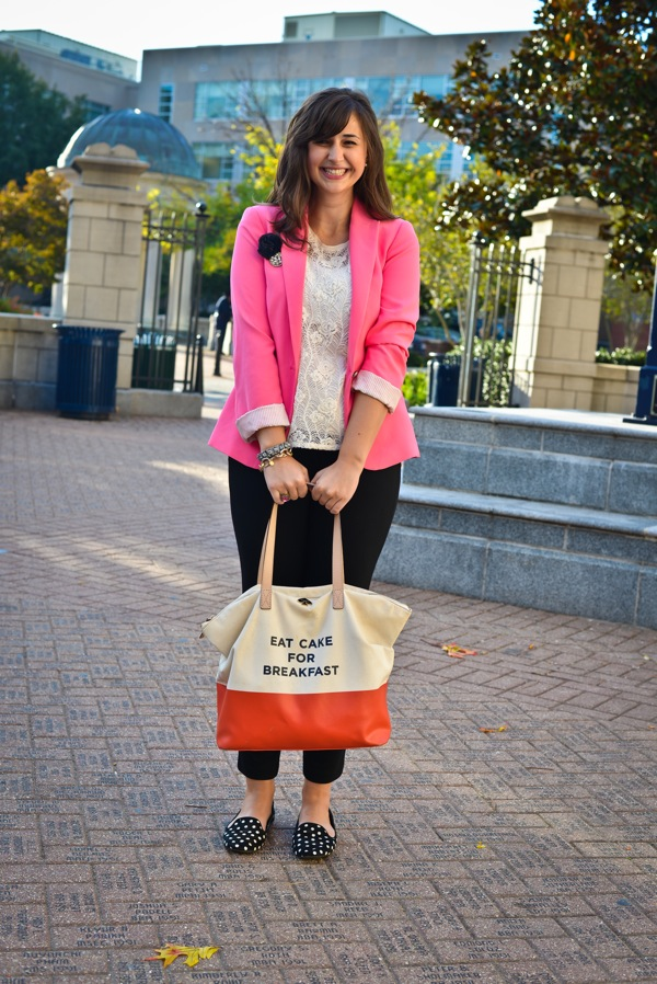 Nikki Rappaport What I Wear to Work Washingtonian Magazine - Eat Cake for Breakfast Kate Spade Bag, Pink Zara Blazer