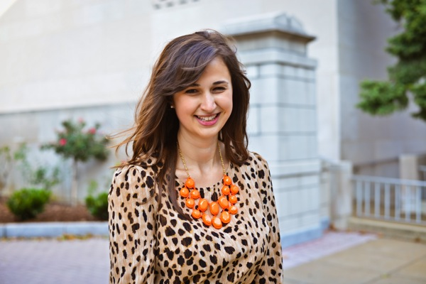 Nikki Rappaport What I Wear to Work Washingtonian Magazine - target leopard dress, kate spade necklace