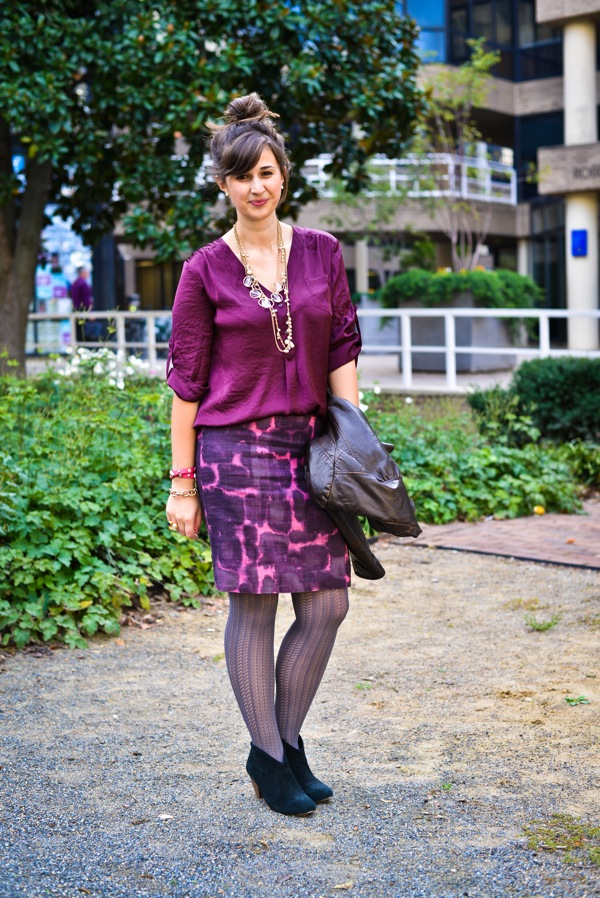 Nikki Rappaport What I Wear to Work Washingtonian Magazine - purple ikat Jcrew skirt