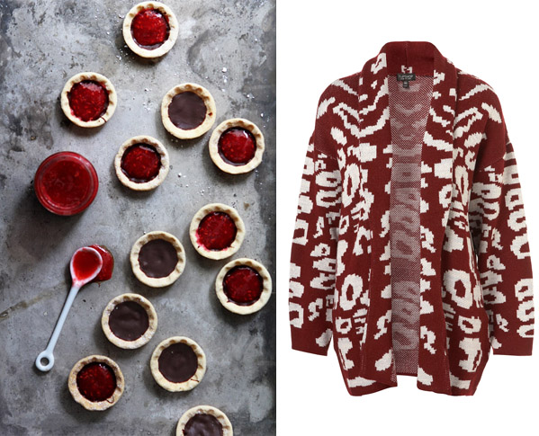 Side by Side – raspberry red tarts and top shop animal print shawl sweater