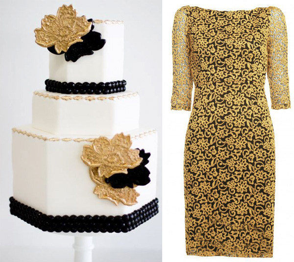 Side by Side - black and gold lace - sweet and saucy cake, alice and olivia dress
