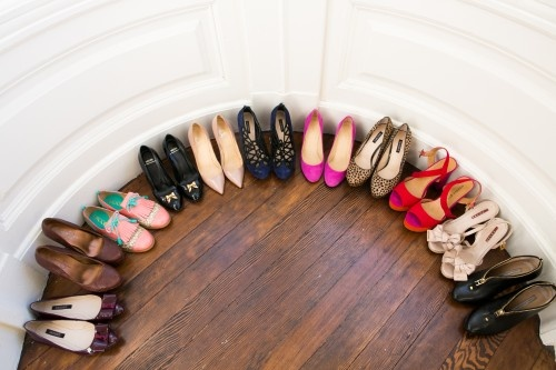 round row of shoes from Delightfully Chic