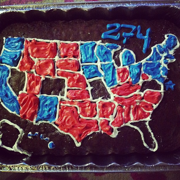Obama wins with 274 electoral votes on the cake map