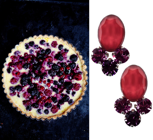 Side by Side - berry trio tart and earrings