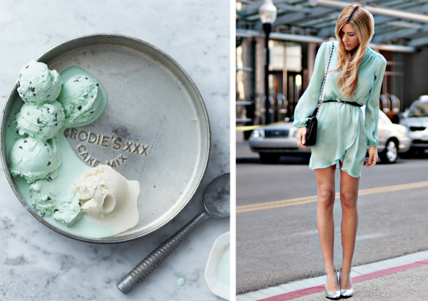 Side by Side: mint and silver