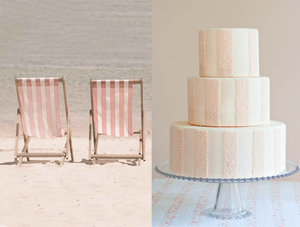 Side by Side – sandy pink stripes beach chairs and cake