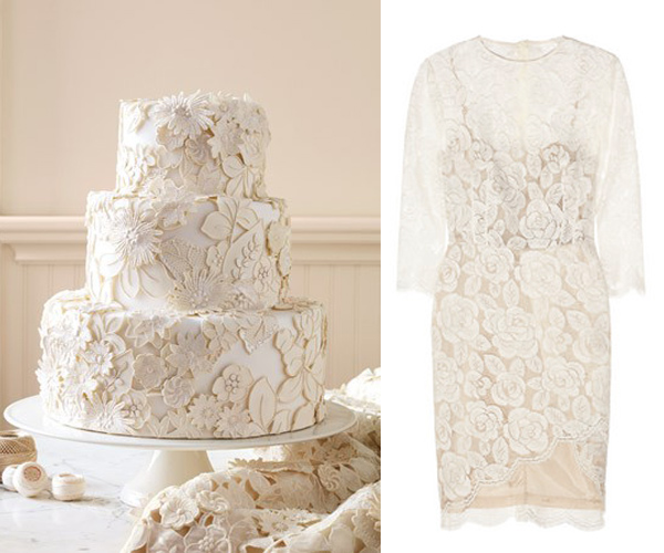 Side by Side – white lace Martha Stewart cake and Lover lace dress
