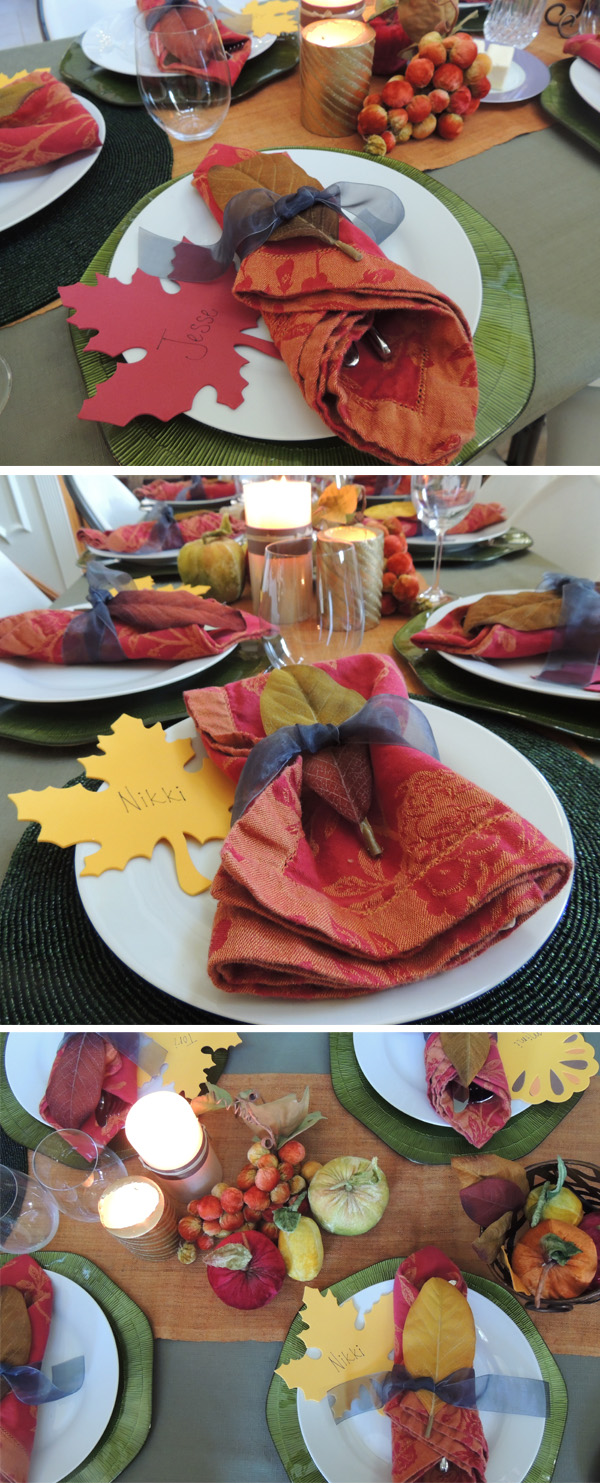thanksgiving table 2012 with velvet leaves and fruit