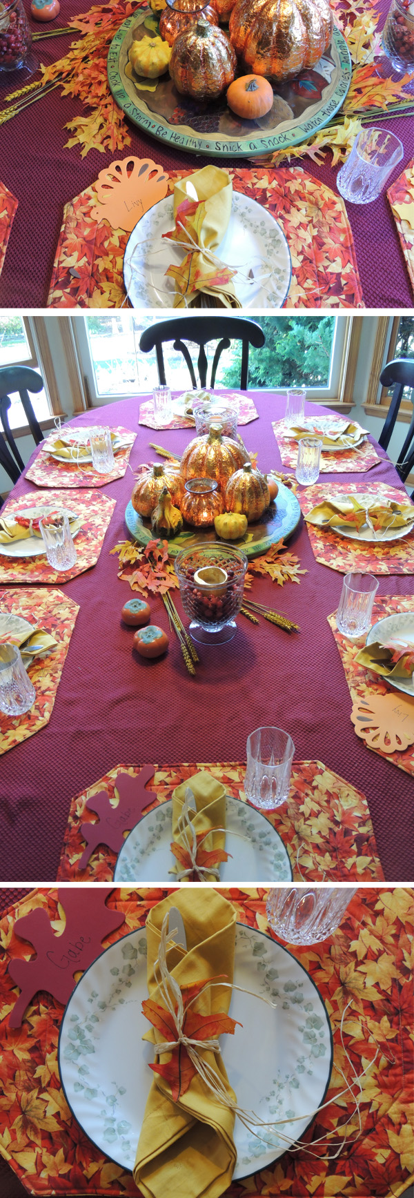 thanksgiving table 2012 purple orange leaves