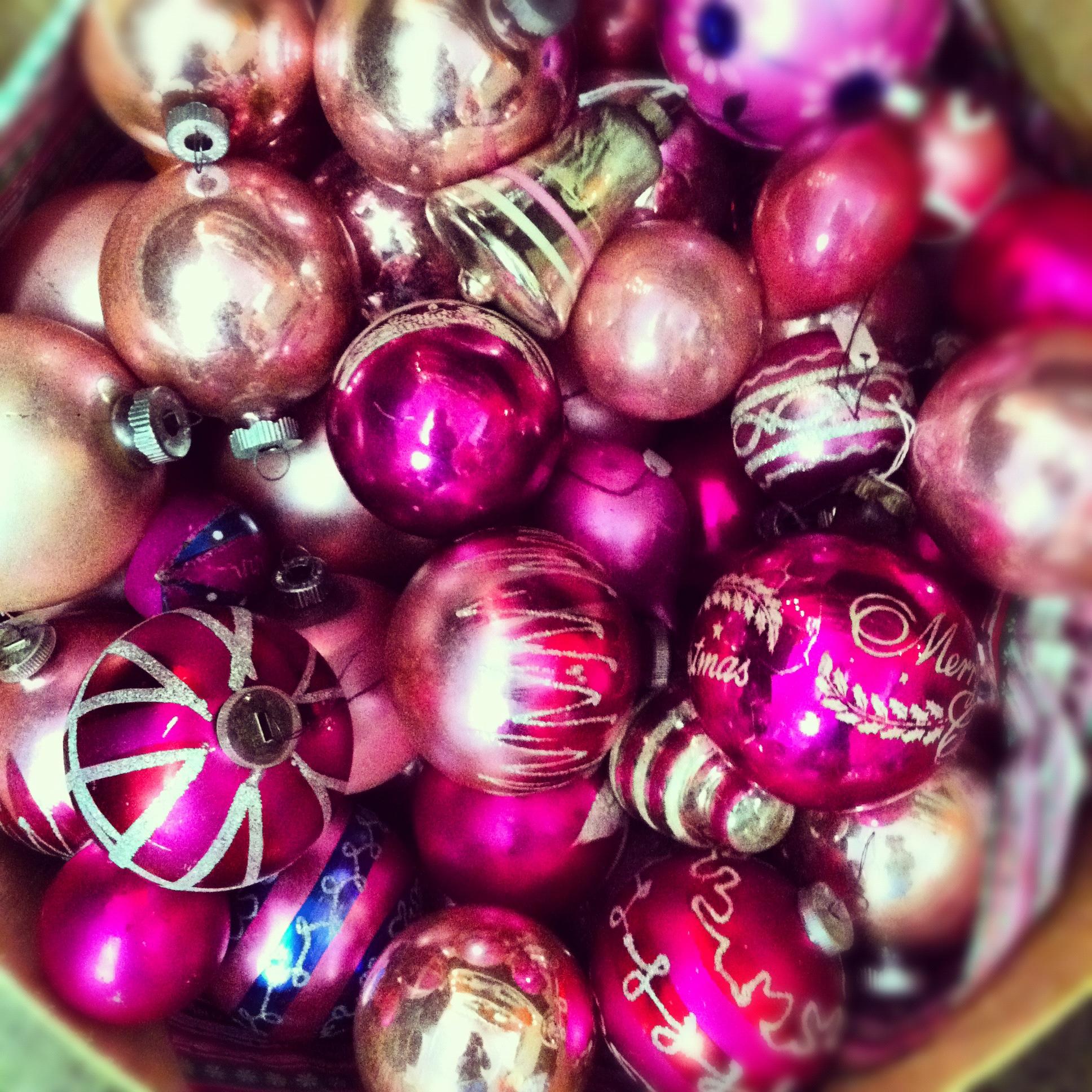 pink vintage ornaments