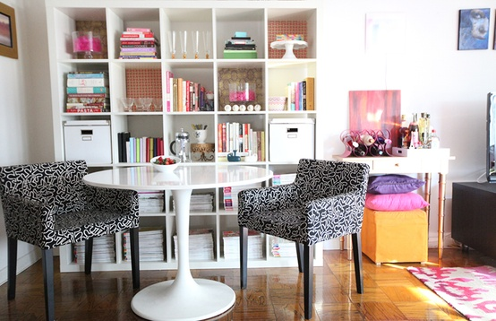 Cupcakes for Breakfast: DC studio apartment tour  Ikea expedit shevles, table, and chairs