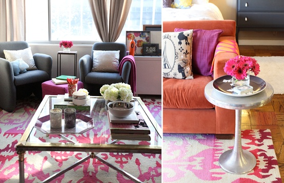 Cupcakes for Breakfast: DC studio apartment tour  pink ikat rug