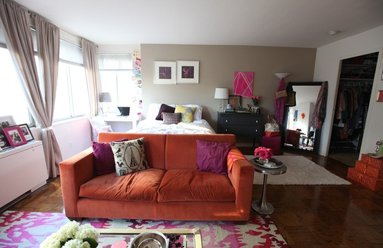 Cupcakes for Breakfast: DC studio apartment tour  orange couch