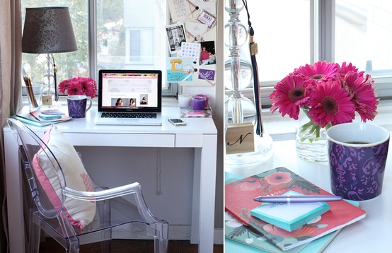 Cupcakes for Breakfast: DC studio apartment tour  parsons desk and lucite chair