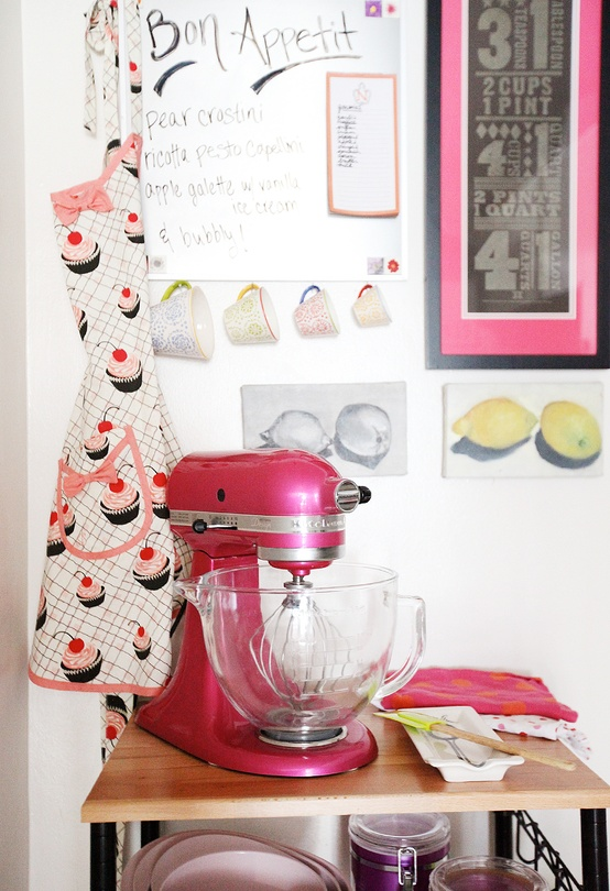 Cupcakes for Breakfast: DC studio apartment tour  – hot pink kitchen aid stand mixer and cart