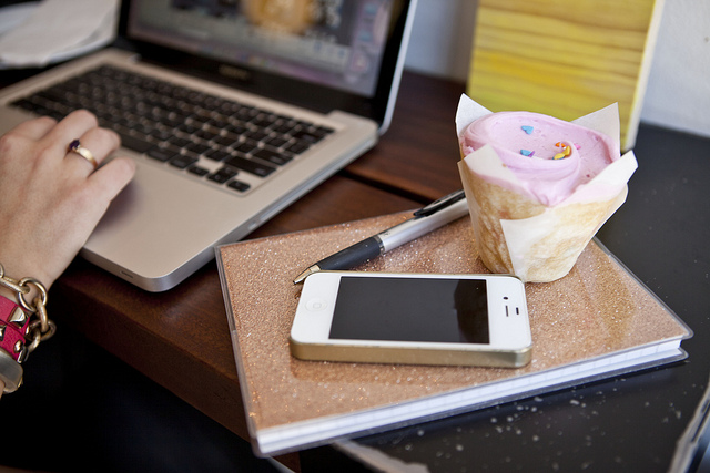 Cupcakes for Breakfast: cupcake, glitter jcrew notebook, laptop, iphone