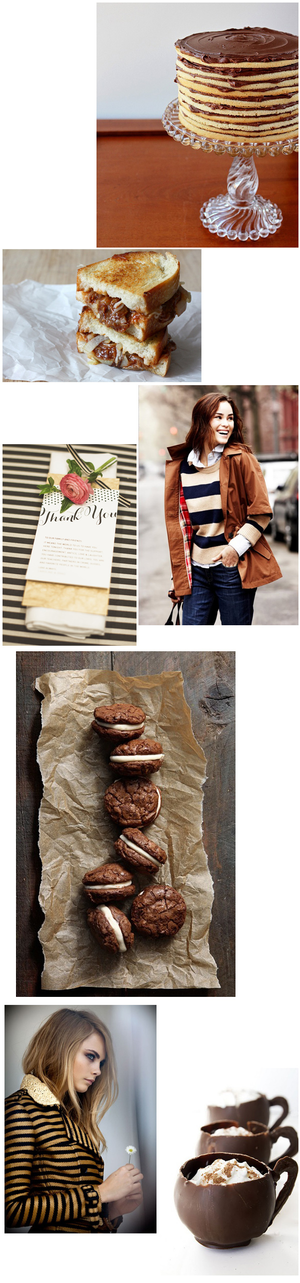 Cupcakes for Breakfast: wint layers - cakes, stripes, brownie sandwiches