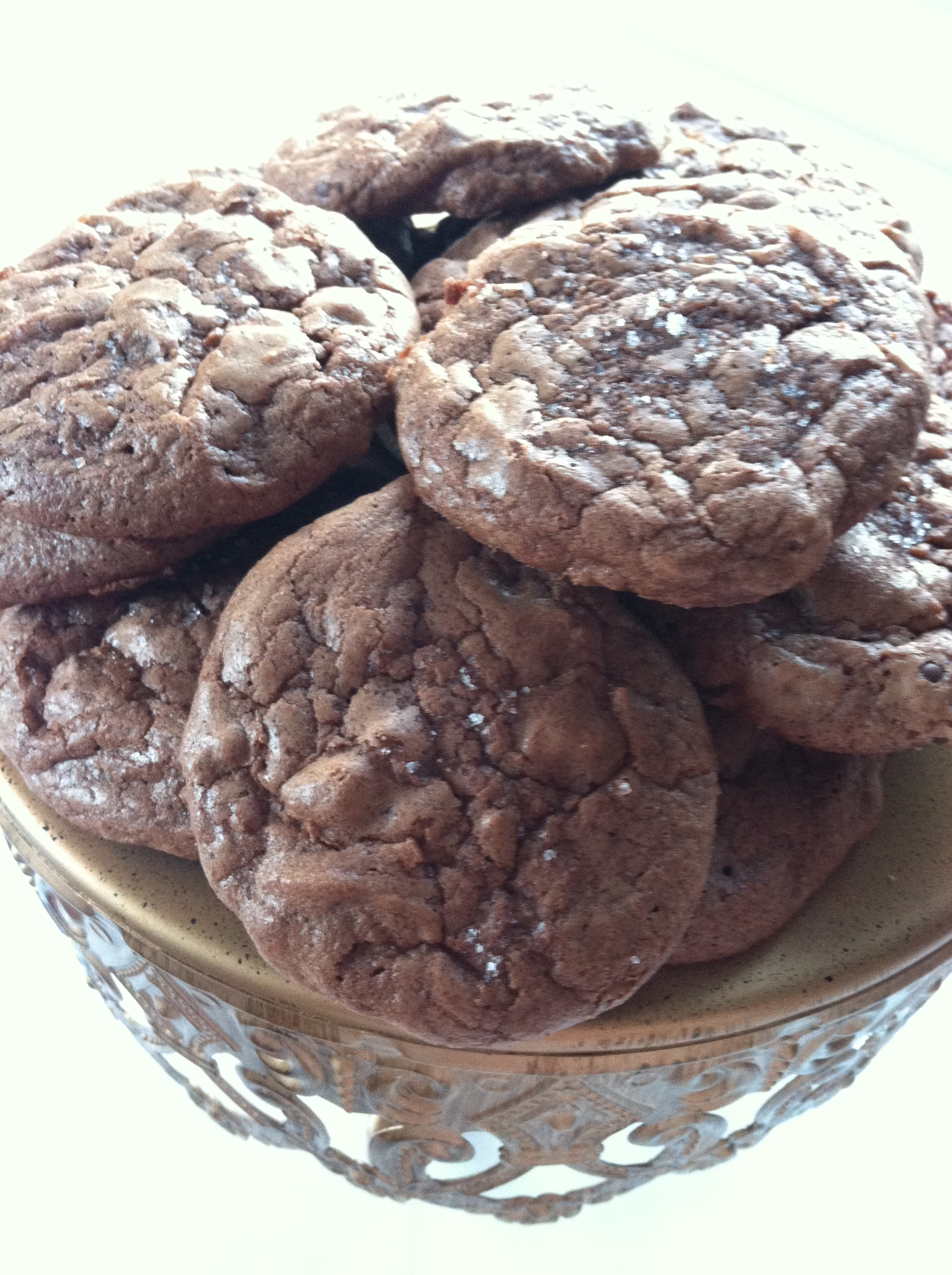 double chocolate salted brownie cookies