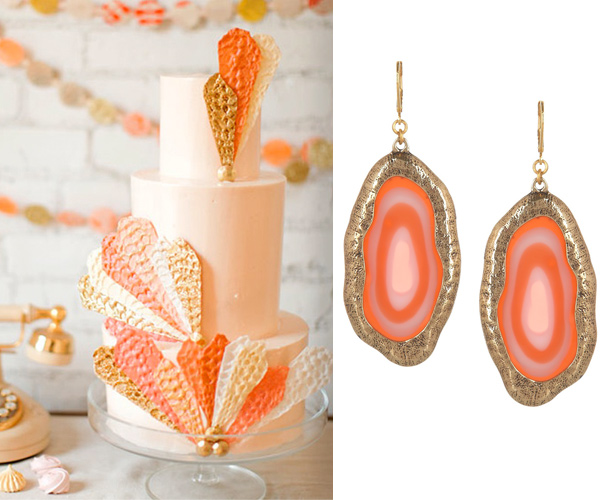 Side by Side – Coral and Gold cake and earrings