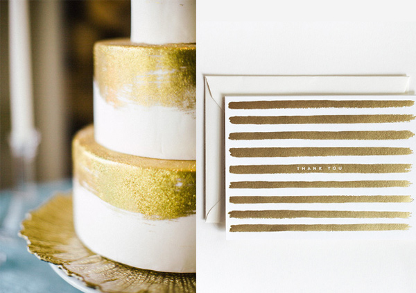 Side by Side - painted gold stripes cake and thank you card