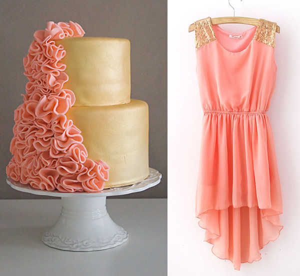 Side by Side – peach and gold cake and dress