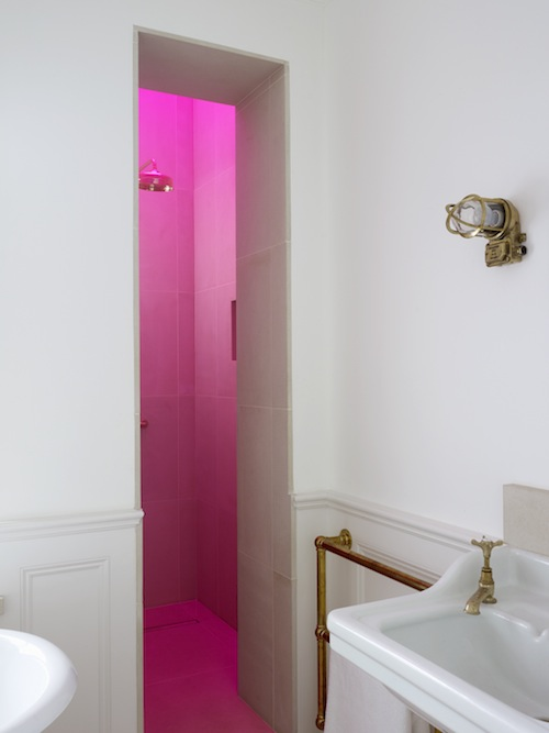 Hot pink shower skylight