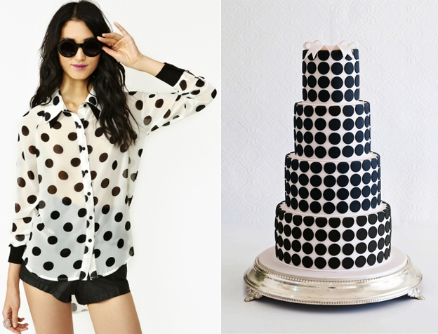 Cupcakes for Breakfast: side by side  black and white dots