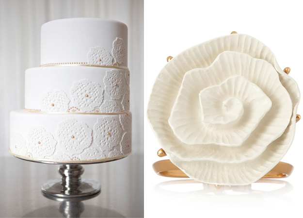 Side by Side  white flower gold dots wedding cake and oscar de la renta cuff