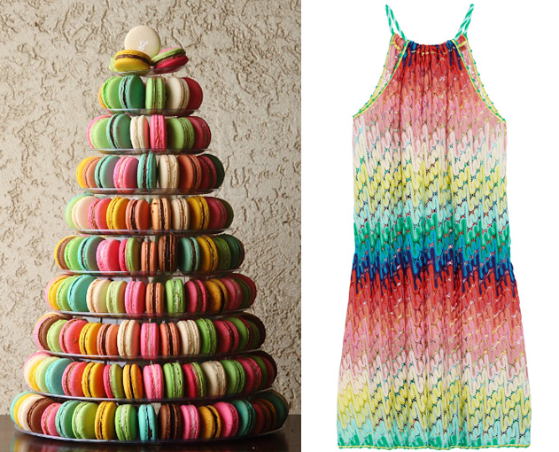 Cupcakes for Breakfast: Side by Side – macaron tower and missoni dress