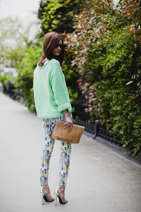 Cupcakes for Breakfast: Spring it On! Mint, printed pants, silver heels