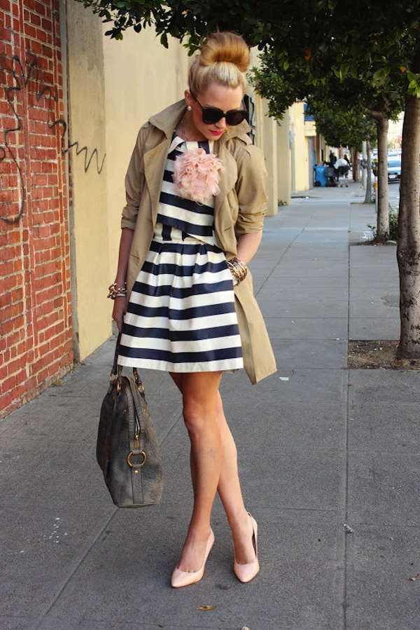 Cupcakes for Breakfast: Spring it On! navy and white striped dress, trench