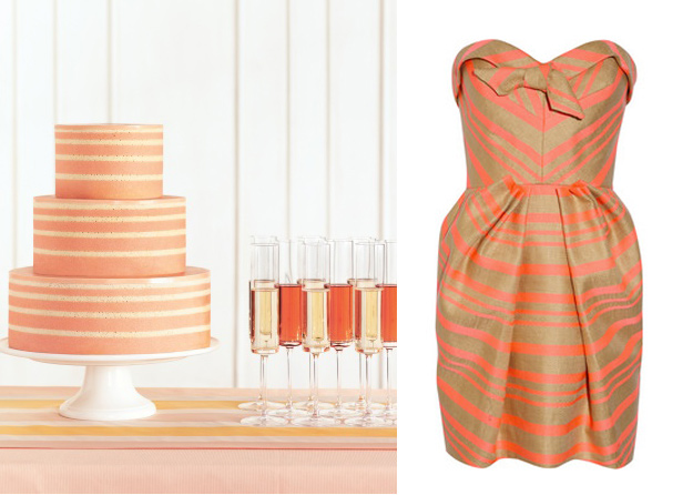 Side by Side: Coral & Gold Stripes