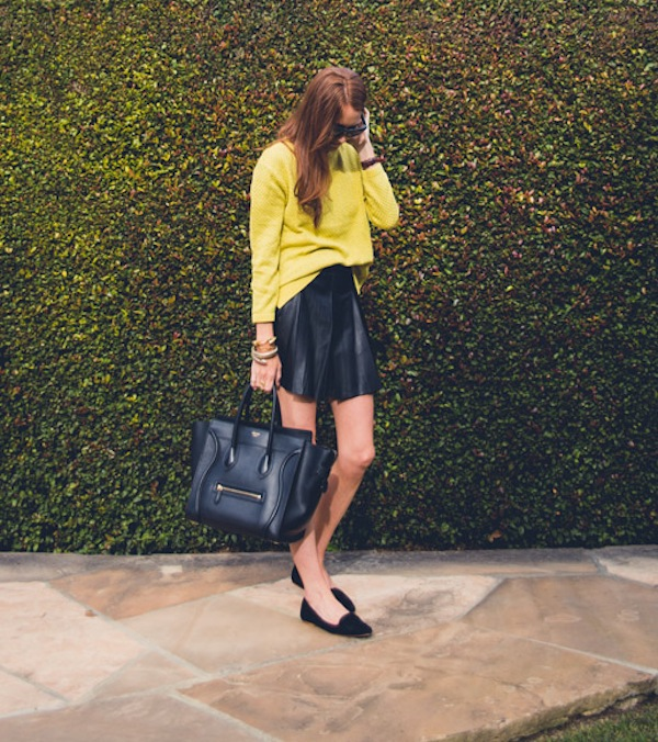 Cupcakes for Breakfast: Spring it On! leather skirt, citron sweater, loafers
