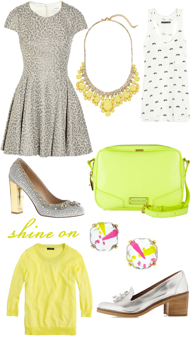 Shine On: gray, gold, lime, yellow for spring