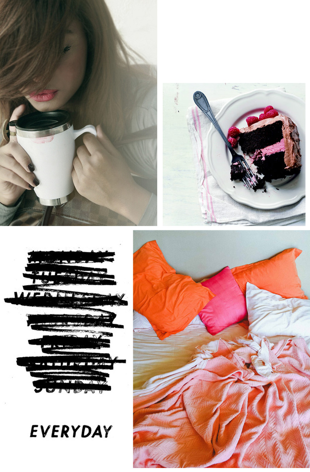 coffee, chocolate cake, every day, bright bed