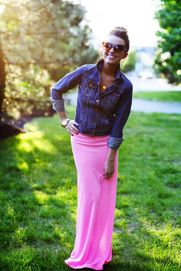 Cupcakes for Breakfast: Spring it On! denim jacket, pink maxi skirt